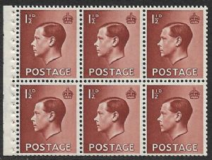 PB3  1½d Brown Booklet Pane of 6 Watermark Upright  Unmounted Mint (Edward VIII Stamps)